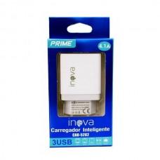CARREGADOR BIVOLT 4.1A 3 USB BRANCO