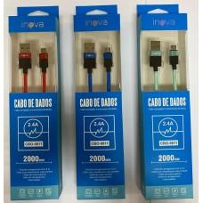 CABO USB X MICRO USB DADOS/CARGA 2M INOVA ROSA/VERDE